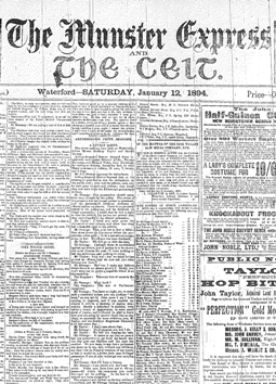 Munster Express front page from 1894