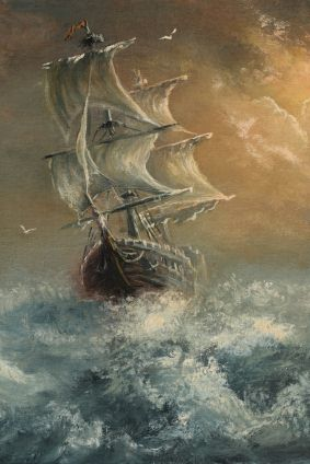 Schooner, possibly one of the coffin ships, in storm.