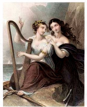 1855 Engraving of Irish harp being played by two women.