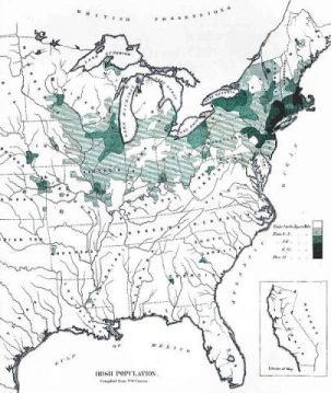 Map of Irish immigration to America by 1872.