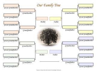 A printable family tree chart, in sepia.