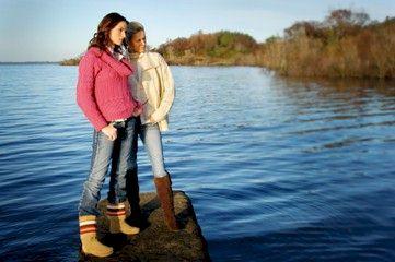 Two women wearing Aran sweaters