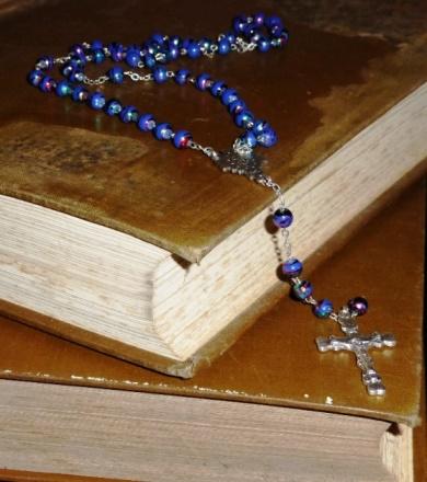 Irish Catholic parish registers, with rosary.