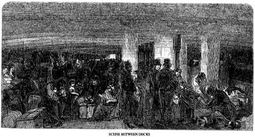 Between decks on the Irish immigration ships