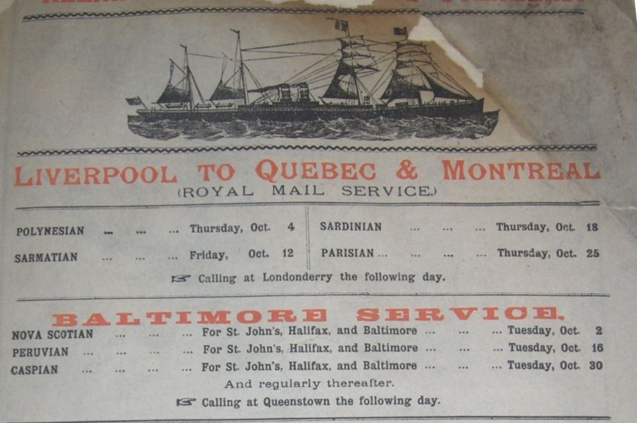 1888 advert for sea crossing to Canada.