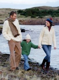 Family wearing Aran sweaters