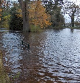 Flooding in Cahir Castle Gardens, November 2009.