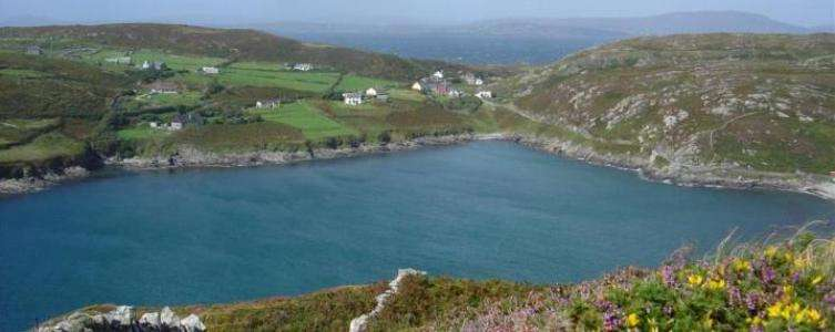 Cape Clear South Harbour, with Roaringwater Bay and the mainland in the distance.