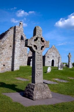 The Celtic High Cross at Clonmacnoise, Ireland.
