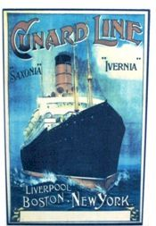 Cunard poster advertising Atlantic crossings.
