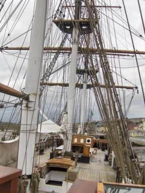 The Dunbrody, a replic emigrant ship, moored in New Ross.