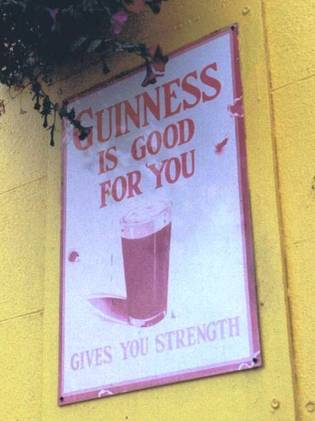 Guinness is good for you; sign on County Carlow pub.