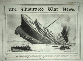 Newspaper report of the sinking of the Lusitania.