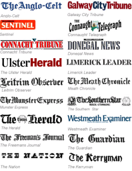 Some of the titles in the Irish Newspapers Archive.