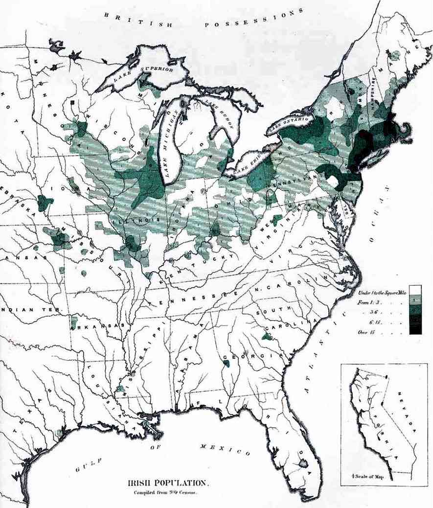 Irish American population - 1872 map.