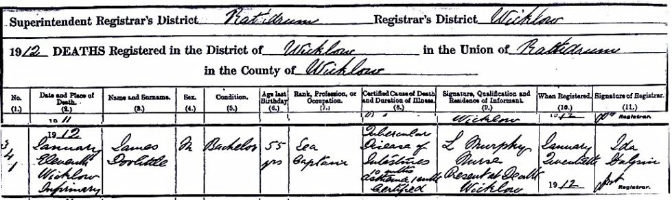 Irish deaths civil registration records where to find them and ireland deaths certificate james doolittle yelopaper Choice Image