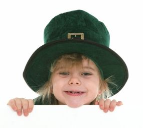 Kid in a leprechaun costume.