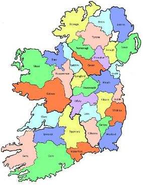 County map of Ireland.