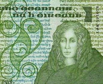 Celtic Queen Meabh on an Irish banknote.