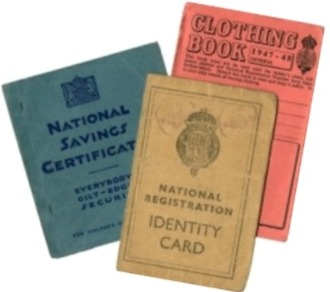 UK wartime ID card, ration and savings book.