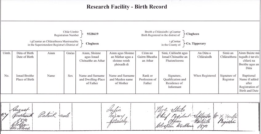 Ireland: Birth Records - How To Find Them And Obtain Copy