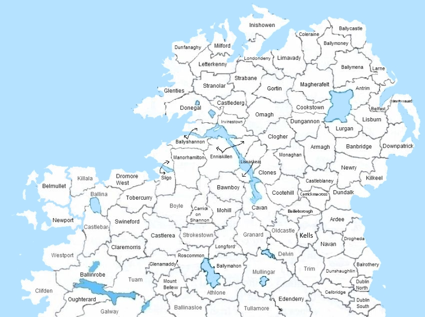 Ireland civil registration districts in county order