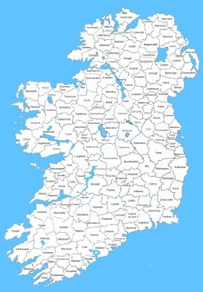 Ireland Civil Registration Districts, map.