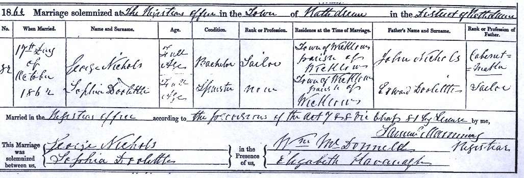 Sophia Doolittle's marriage certificate 17 Oct 1862, Wicklow, Ireland