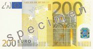 Specimen €200 note.