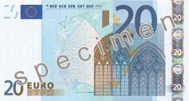 Specimen Ireland €20 note.