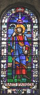St Patrick in stainglass window.