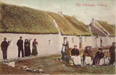 Old postcard of the Claddagh, Galway.