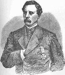 Line drawing of Thomas Francis Meagher, Brigidier General of the Irish Brigade 1861-1864.