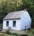 Whitewashed cabin on edge of forest in Rathbarry.