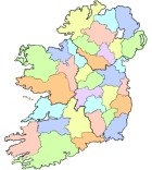Map of the counties of Ireland.