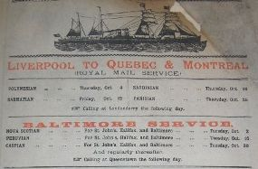 1888 advert for steamer voyage to Canada.