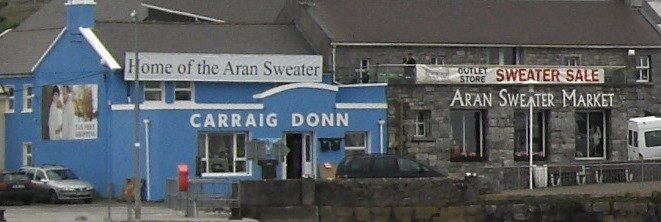 Carraig Donn Aran Sweater store on Inishmore harbour, Co Galway.