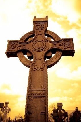 In Ireland, deaths are often marked with a celtic cross memorial.