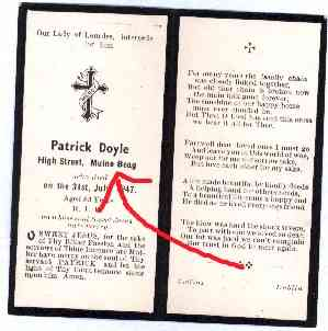 Patrick Doyle's memorial card