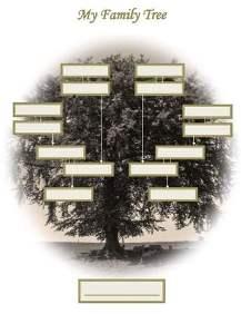 free printable blank family tree chart, sepia.