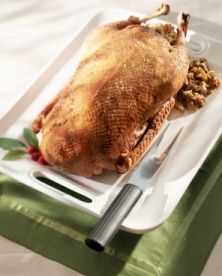 Roast goose for Christmas. Copyright.