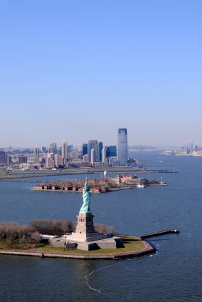 View of Statue of Liberty and Ellis Island.