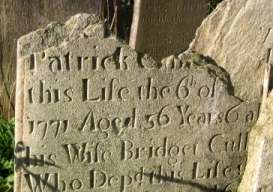 Wicklow gravestone dating from 1771.