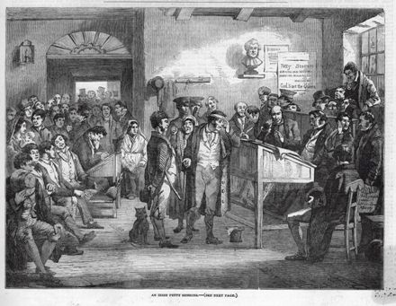 Newspaper drawing from 1853 of proceedings at an unidentified Petty Sessions Court in Ireland.