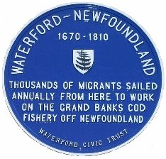 Commemorative plaque in Waterford to emigrants who went to Newfoundland.