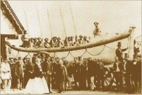 Wicklow lifeboat launch, 1866.