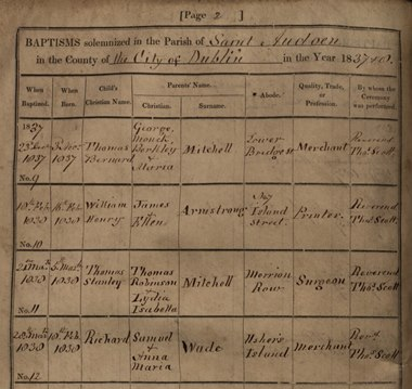 Part of a page from St Audoen's 1837 baptism register.