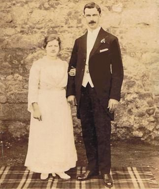 Bride and groom, Carlow, Ireland, 1919.