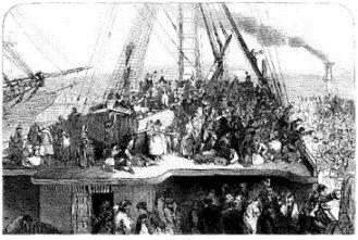 Emigrants departing Ireland 1850
