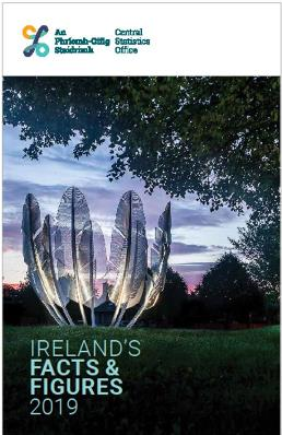 Cover of Ireland's Facts & Figures 2019 booklet. Shows photo of Kindred Spirits sculpture in Co Cork, a memorial to the Chockaw Indians of N America's generosity to the Irish during the Faminne.